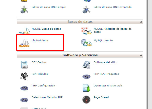 Acceso cPanel papaMyAdmin